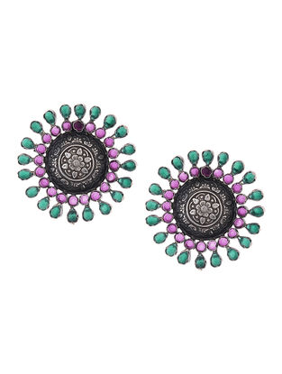 Pink-Green Silver Earrings with Floral Motif