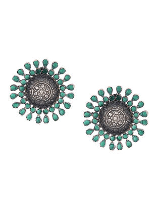 Green Silver Earrings with Floral Motif