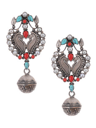 Turquoise-Coral Pearl Silver Earrings