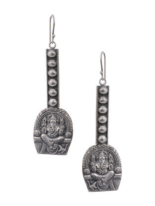 Classic Silver Earrings with Lord Ganesha Motif