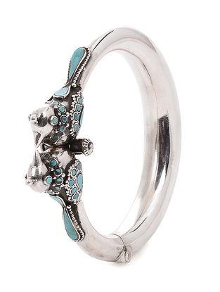 Turquoise Hinged Opening Silver Bangle (Bangle Size -2/8)