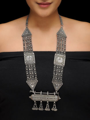 Tribal Silver Necklace with Taveez Design
