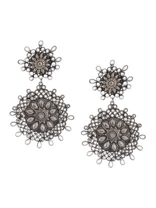 Tribal Glass Crystal Silver Earrings with Floral Motif