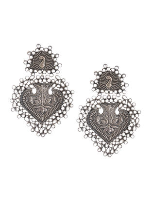 Tribal Glass Crystal Silver Earrings with Peacock Motif