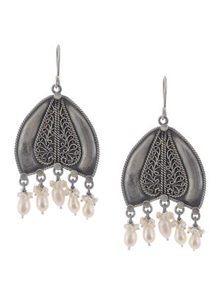 Pearl Drop Tribal Silver Earrings