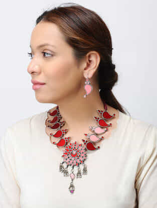 Red Glass Tribal Silver Necklace with Paisley Design and a Pair of Earrings (Set of 2)