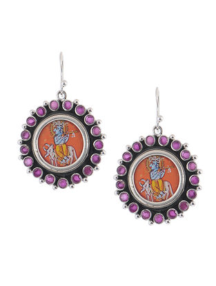 Multicolored Hand-painted Silver Earrings with Lord Krishna Motif