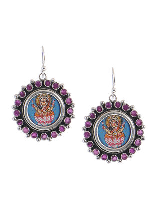 Multicolored Hand-painted Silver Earrings with Goddess Lakshmi Motif