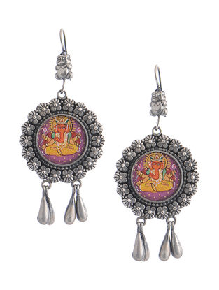 Multicolored Hand-painted Silver Earrings with Lord Ganesha Motif