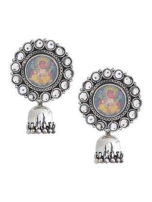 Multicolored Hand-painted Silver Jhumkis with Lord Ganesha Motif