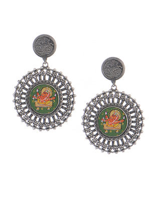 Green-Orange Hand-painted Silver Earrings with Lord Ganesha Motif