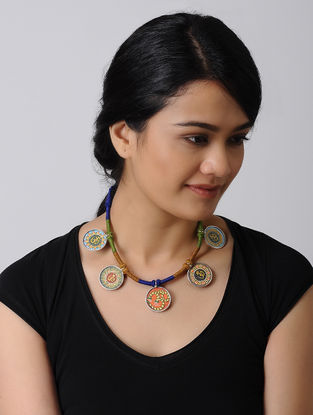 Multicolored Hand-painted Silver Thread Necklace with Aum Motif