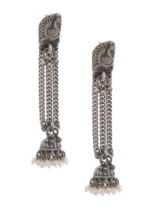 Pearl Silver Jhumkis with Peacock Motif