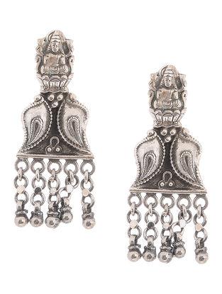 Tribal Silver Earrings with Deity Motif