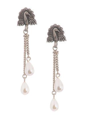 Pearl Silver Earrings with Peacock Motif