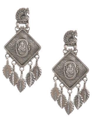 Tribal Silver Earrings with Lord Ganesha Motif