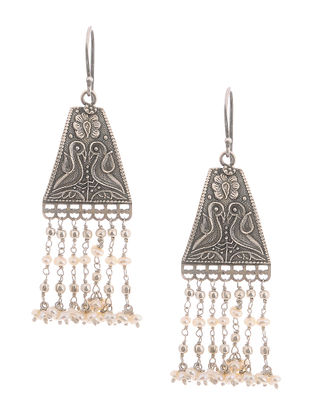 Pearl Drop Silver Earrings with Peacock Motif