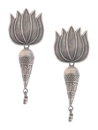 Tribal Silver Earrings with Lotus Design
