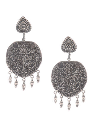 Tribal Silver Earrings with Floral Motif