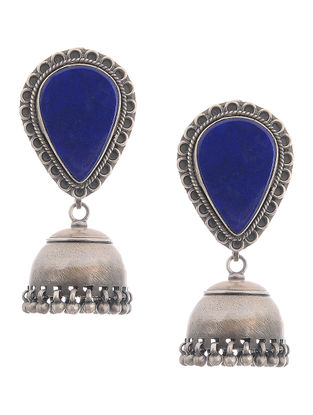 Blue Silver Jhumkis