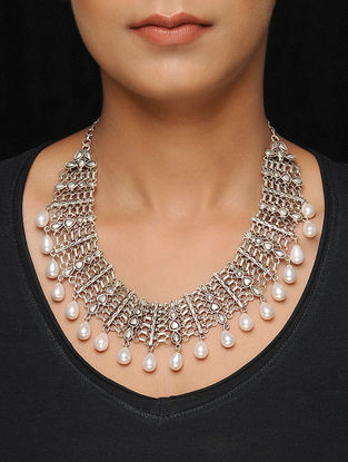 Tribal Silver Necklace with Pearls