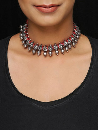 Red Thread Tribal Silver Necklace with Peacock Motif