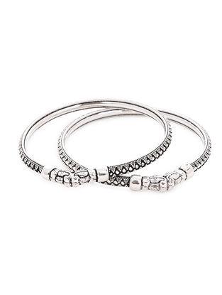 Tribal Silver Bangles Set of 2 (Bangle Size -2/4)
