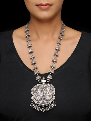 Classic Silver Necklace with Peacock Motif
