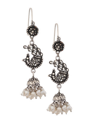 Pearl Drop Silver Jhumkis with Peacock Design