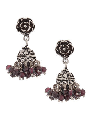 Garnet Drop Silver Jhumkis with Floral Design