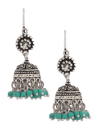 Turquoise Drop Silver Jhumkis