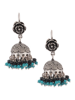 Turquoise and Black Onyx Drop Silver Jhumkis with Floral Design