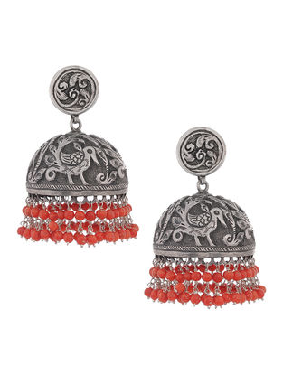 Coral Silver Jhumkis with Bird Motif