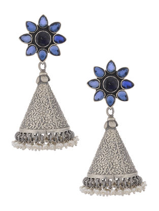 Blue Silver Jhumkis with Floral Design
