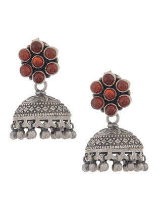 Red Onyx Silver Jhumkis with Floral Design