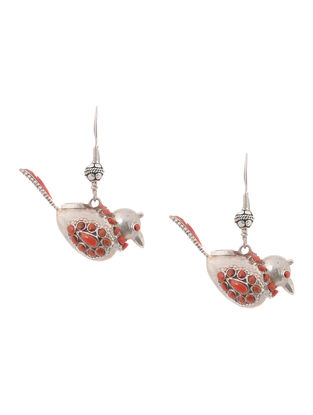 Coral Silver Earrings with Bird Design