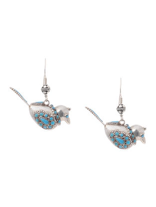 Turquoise Silver Earrings with Bird Design