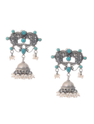 Turquoise Tribal Silver Jhumkis with Pearls