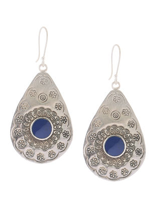 Blue Tribal Silver Earrings with Floral Motif