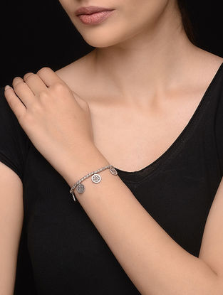 Tribal Silver Bracelet with Floral Motif