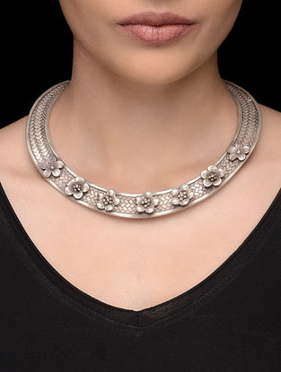 Tribal Silver Hasli with Floral Design
