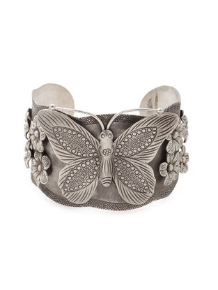 Tribal Silver Cuff with Floral Design