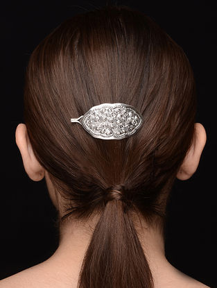 Tribal Silver Hair Accessory with Floral Motif