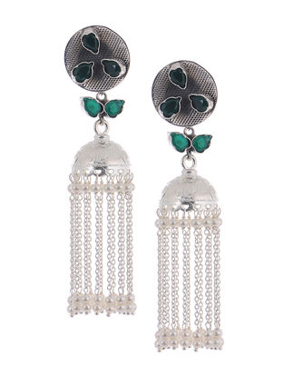 Green Silver Jhumkis with Pearls