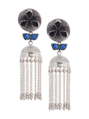 Blue Silver Jhumkis