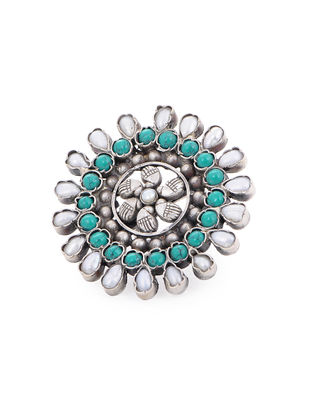 Turquoise and Pearl Adjustable Silver Ring