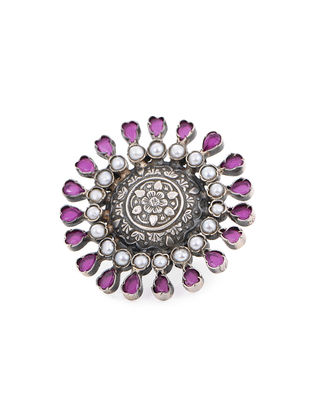 Purple Adjustable Silver Ring with Floral Motif