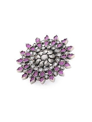 Purple Adjustable Silver Ring