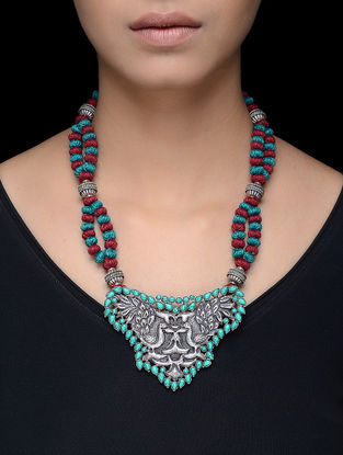 Turquoise Silver Thread Necklace with Peacock Motif