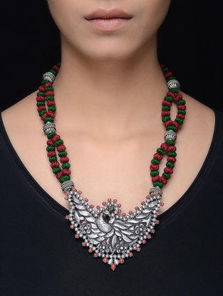 Coral Silver Thread Necklace with Peacock Design